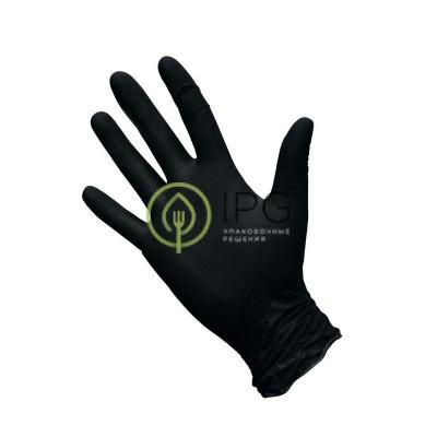 Перчатки нитриловые, черные, размер M, 100шт в уп., AVIORA, упак