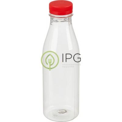 Бутылка прозрачная c красной крышкой 500мл, d-38мм